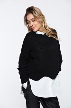 Pulover negru casual tricotat cu tiv decupat