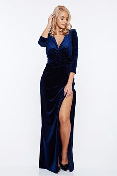 Rochie Artista albastra-inchis de ocazie din catifea petrecuta cu aplicatii cu margele