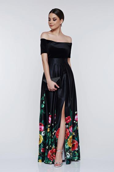 Rochie Artista neagra cu imprimeu floral de ocazie pe umeri
