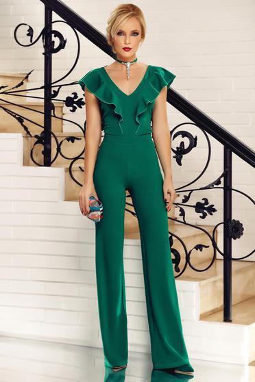 Salopeta Fofy verde eleganta din material usor elastic cu decolteu in v cu volanase