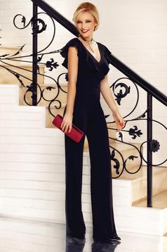 Salopeta Fofy neagra eleganta din material usor elastic cu decolteu in v cu volanase