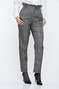 Pantaloni StarShinerS gri in carouri office din stofa cu talie inalta