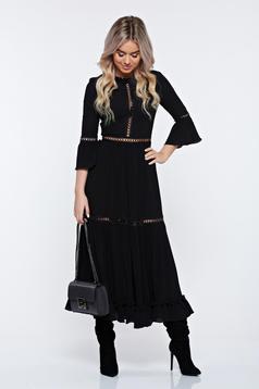 Rochie Ana Radu neagra eleganta in clos plisata din voal cu maneci clopot