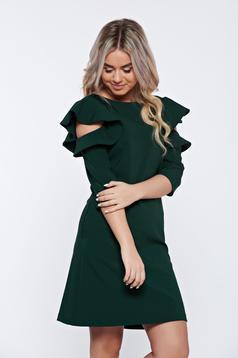 Rochie LaDonna verde-inchis cu croi larg cu volanase la maneca