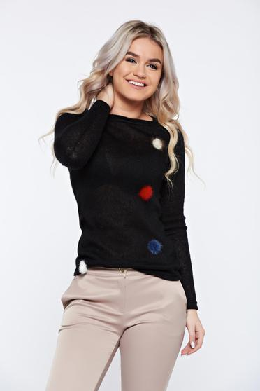 Pulover PrettyGirl negru casual tricotat cu insertii cu blana ecologica
