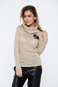 Pulover PrettyGirl crem casual tricotat pe gat