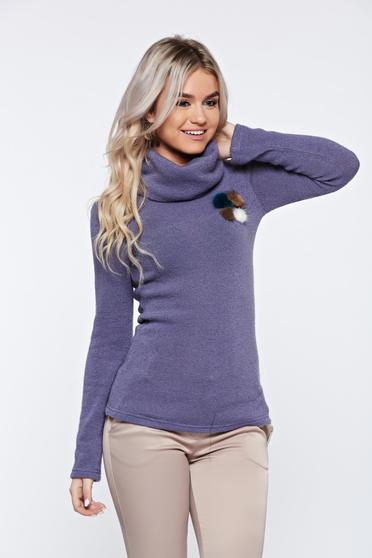 Pulover PrettyGirl mov casual tricotat pe gat