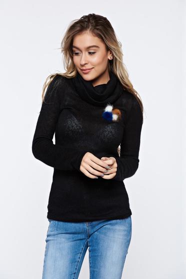 Pulover PrettyGirl negru casual tricotat pe gat