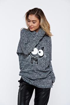 Pulover PrettyGirl negru casual tricotat cu aplicatii din piele ecologica