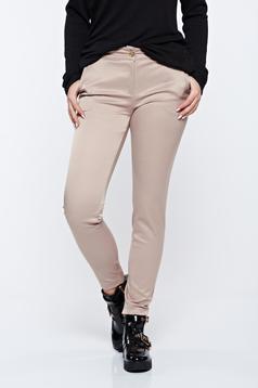 Pantaloni PrettyGirl crem office conici din bumbac cu talie medie