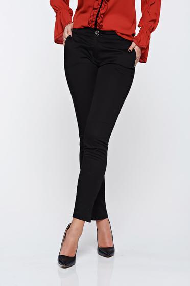 Pantaloni PrettyGirl negri office conici din bumbac cu talie medie