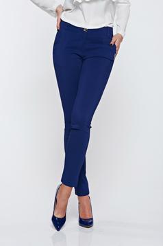 Pantaloni PrettyGirl albastri office cu un croi mulat cu buzunare
