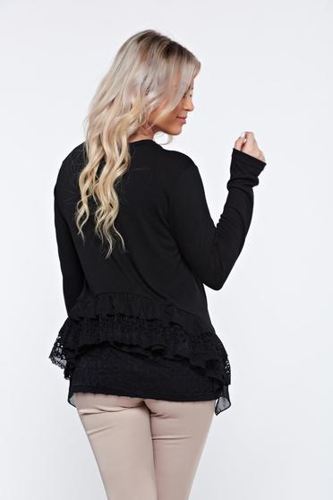 Bluza dama PrettyGirl neagra casual cu croi larg cu aplicatii de dantela