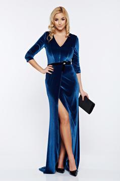 Rochie StarShinerS albastra de ocazie din catifea cu decolteu