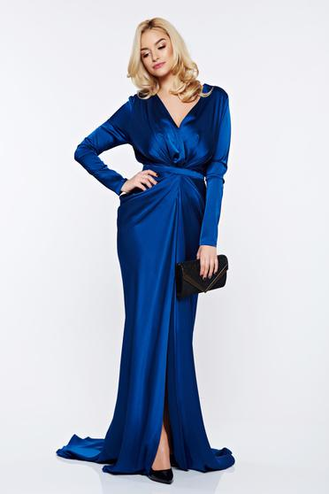 Rochie Ana Radu albastra-inchis sirena de ocazie din material satinat