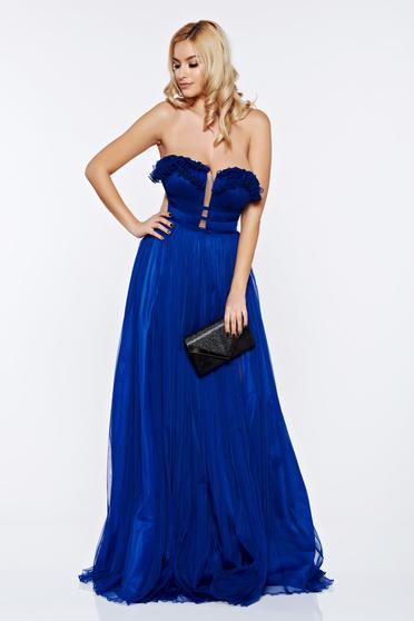 Rochie Ana Radu albastra de lux cu bust buretat din tul captusita pe interior