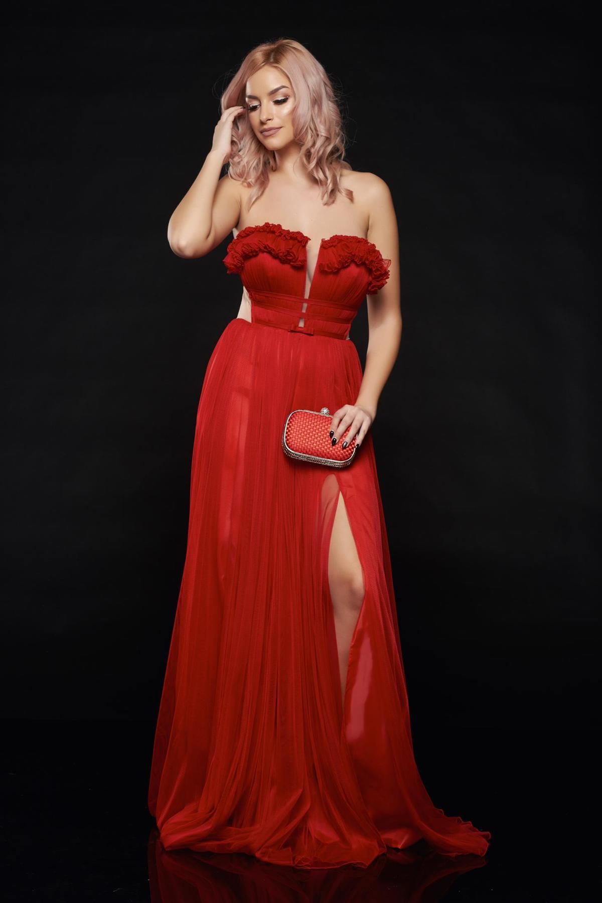 Rochie Ana Radu rosie de lux cu bust buretat din tul captusita pe interior
