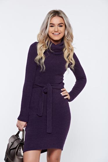 Rochie PrettyGirl mov casual tricotata accesorizata cu cordon