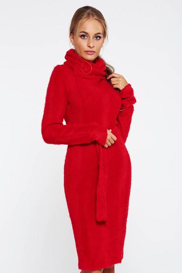 Rochie PrettyGirl rosie casual tricotata din material pufos pe gat