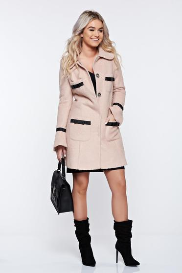 Palton LaDonna rosa elegant din lana drept cu guler rotunjit accesorizat cu fundite