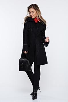 Palton LaDonna negru elegant din lana drept cu guler rotunjit accesorizat cu fundite