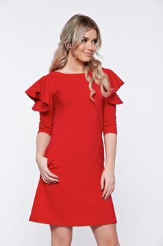 Rochie LaDonna rosie cu croi larg din stofa usor elastica cu volanase la maneca