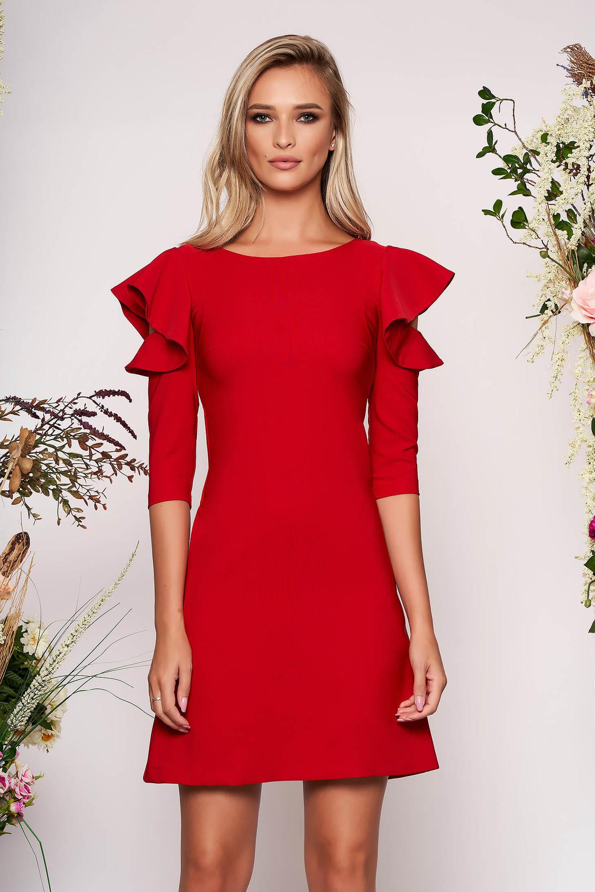 Rochie LaDonna rosie cu croi in a de zi din stofa usor elastica cu volanase la maneca