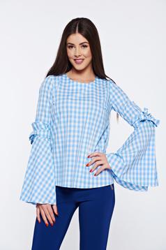 Bluza dama LaDonna albastra cu patratele din bumbac cu croi larg cu maneci clopot