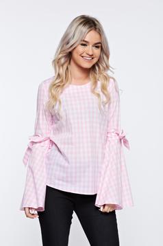 Bluza dama LaDonna roz cu dungi din bumbac cu croi larg cu maneci clopot