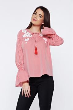 Bluza dama LaDonna rosie cu dungi casual brodata din bumbac