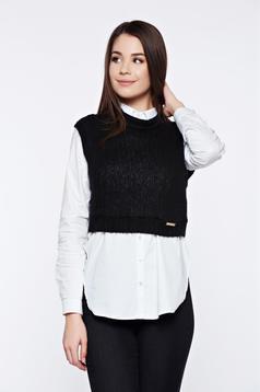 Top PrettyGirl negru casual tricotat