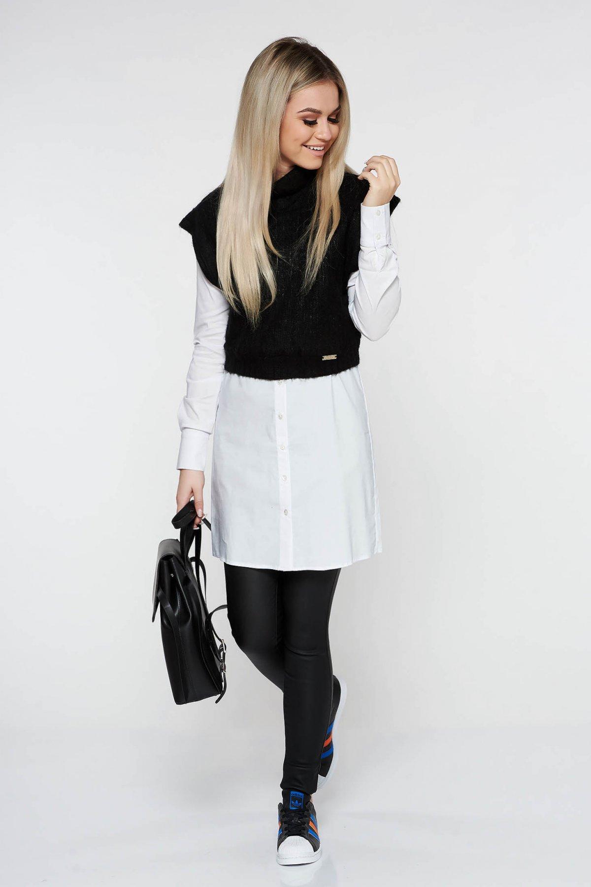 Top PrettyGirl negru casual tricotat scurt din material elastic