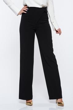 Pantaloni PrettyGirl negri eleganti evazati cu talie inalta