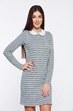 Rochie PrettyGirl gri de zi tricotata cu guler rotunjit