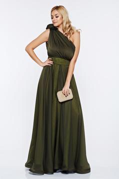Rochie Ana Radu verde-inchis de ocazie din voal pe umar