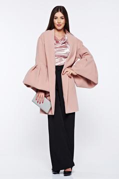 Palton Ana Radu rosa casual elegant din lana captusit pe interior cu maneci clopot
