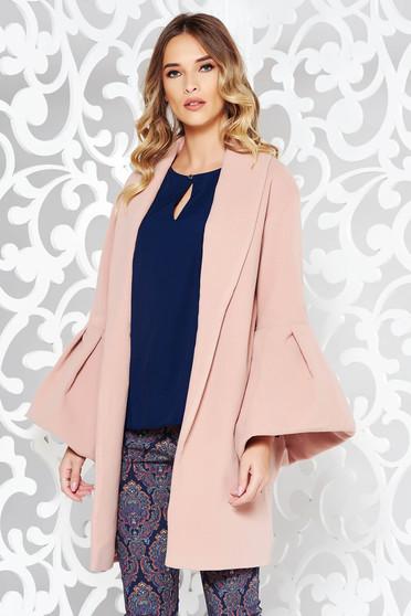 Palton Ana Radu rosa elegant din lana captusit pe interior cu maneci clopot
