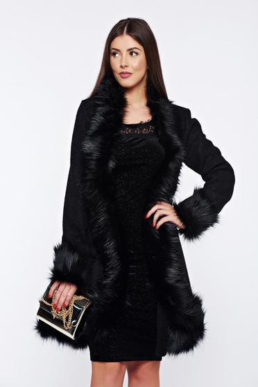 Palton Ana Radu negru elegant din lana cu insertii cu blana ecologica
