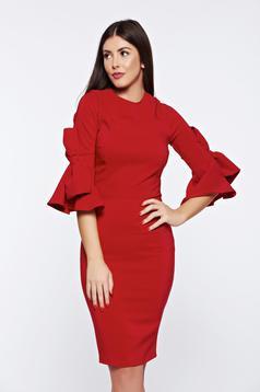 Rochie Artista rosie eleganta accesorizata cu fundite