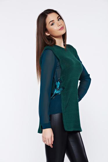 Pulover PrettyGirl verde casual tricotat cu maneci din voal