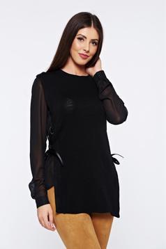 Pulover PrettyGirl negru casual tricotat cu maneci din voal
