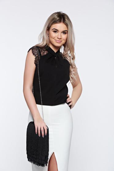 Bluza dama neagra Top Secret de ocazie cu croi larg cu maneca scurta