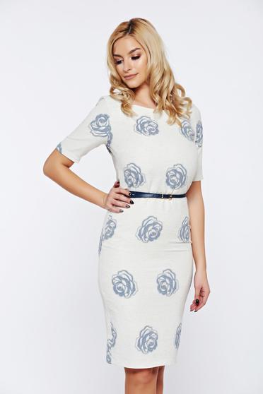 Rochie PrettyGirl alba eleganta de zi cu accesoriu tip curea
