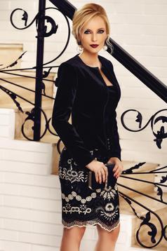 Sacou Fofy negru elegant din catifea cu volanas in talie