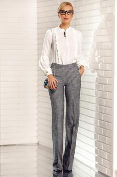 Pantaloni Fofy gri eleganti din stofa cu fir lame cu buzunare