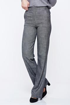 Pantaloni Fofy gri cu dungi office evazati fir lame