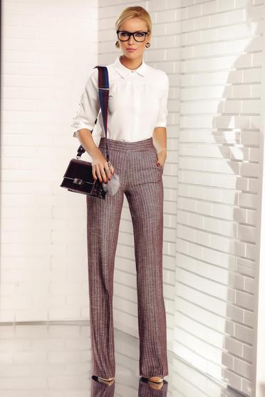 Pantaloni Fofy visinii eleganti din stofa cu fir lame cu buzunare