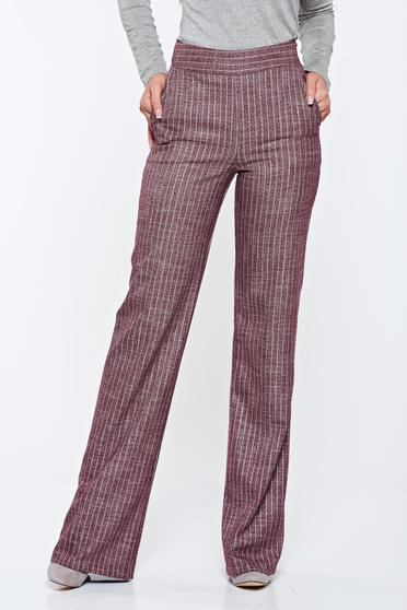 Pantaloni Fofy visinii cu dungi office evazati cu fir lame