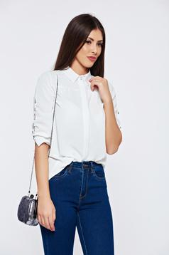 Bluza dama Fofy alba office cu guler ascutit accesorizata cu nasturi