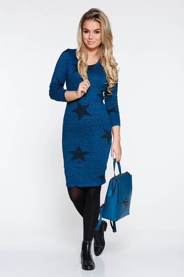 Rochie PrettyGirl turcoaz casual midi cu un croi mulat din material tricotat captusita pe interior